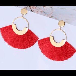 Red and Gold fringe tassel earring -lightweight